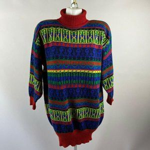 80s Colorful Knit Long Sleeve Turtleneck